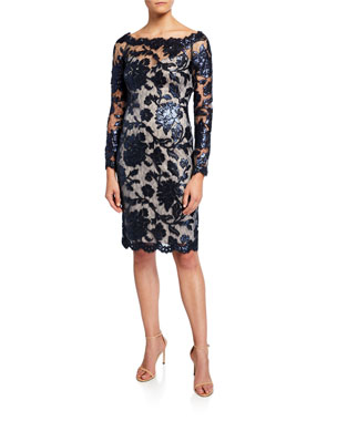6688ef011e5 Tadashi Shoji Sequin Lace Boat-Neck Long-Sleeve Cocktail Dress