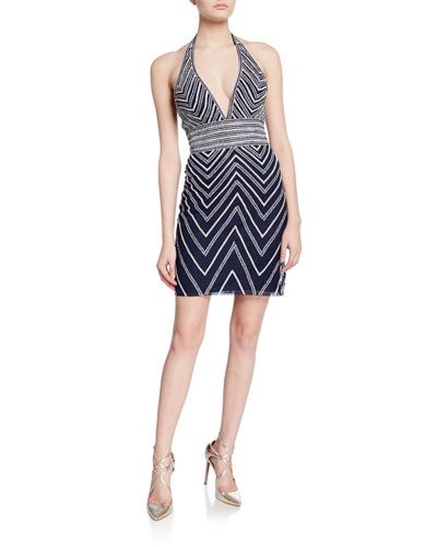 Beaded Chevron Mini Halter Dress