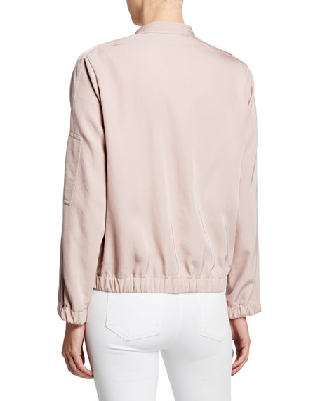Lafayette 148 New York Ziggy Canary Cloth Bomber Jacket