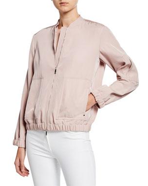 43548bb6 Lafayette 148 New York Ziggy Canary Cloth Bomber Jacket
