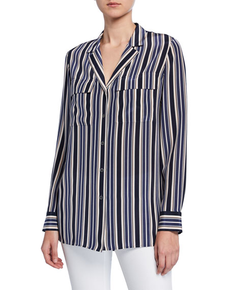 Lafayette 148 New York Maximina Painted Desert Stripe Button-Down Silk Blouse