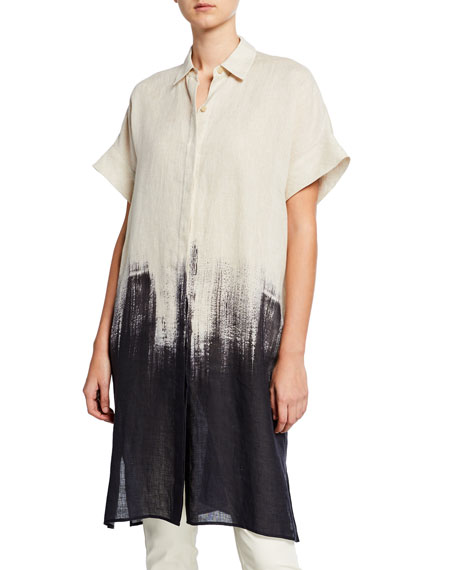 Lafayette 148 New York Jasarah Whirlwind Ombre Linen Duster