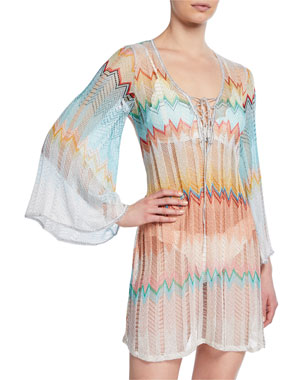 f47caf651822d Missoni Mare Knit Zigzag Short Coverup