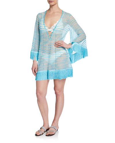 Knit Lace-Up Caftan with Fringe
