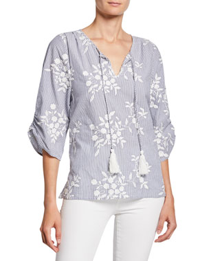 218087432 Tolani Edith Striped Floral-Embroidered Tassel-Neck Chambray Tunic