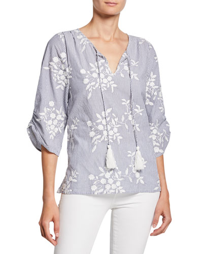 Edith Striped Floral-Embroidered Tassel-Neck Chambray Tunic
