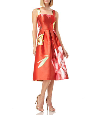 b75612704473 Kay Unger New York Floral-Print Sleeveless Mikado Dress w  Pockets