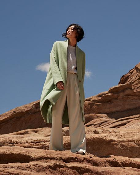 Vince Collarless Long Wool Coat Neiman Marcus