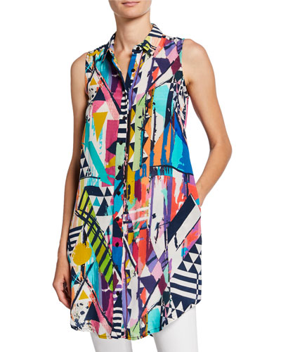 Holly Geometric-Printed Sleeveless Button-Front Tunic