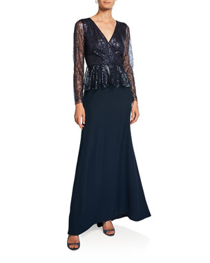 9052f81eb07 Tadashi Shoji Long-Sleeve Sequin Peplum Gown with Crepe Skirt