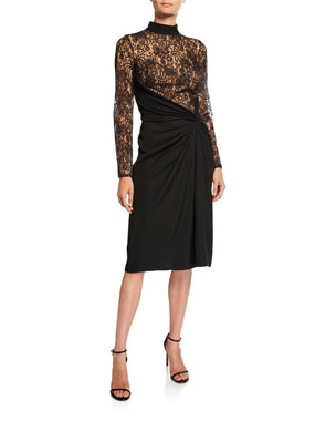 7a56038393c Tadashi Shoji Mock-Neck Long-Sleeve Dress w  Lace Bodice   Ruched Crepe