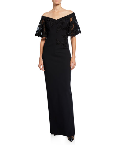 Rickie Freeman for Teri Jon Off-the-Shoulder Embroidered Short-Sleeve Crepe Column Gown