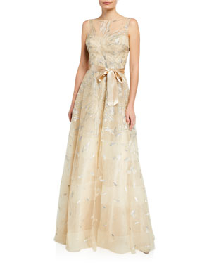dfb50252ec9 Rickie Freeman for Teri Jon Leaf Pattern Organza Sleeveless A-Line Gown