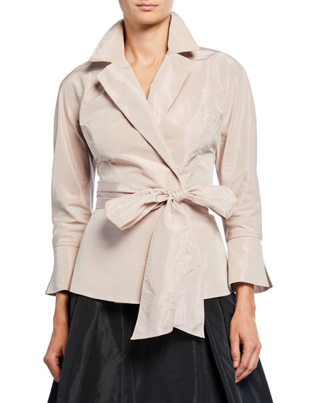 Rickie Freeman for Teri Jon Bracelet-Sleeve Wrap Blouse with Notch Collar