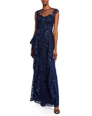 2fc1a8ddea Rickie Freeman for Teri Jon Sweetheart Illusion Cap-Sleeve Sequin Lace  Side-Fall Peplum