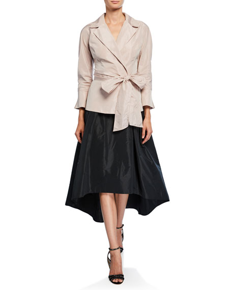 Image 3 of 3: High-Low Taffeta Midi Skirt