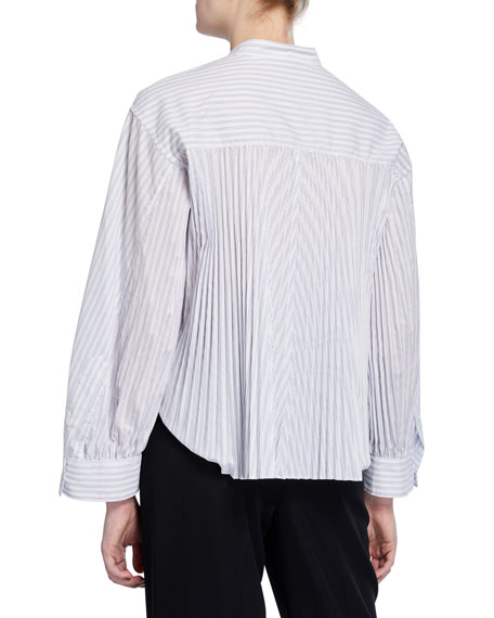 Image 3 of 3: Vince Pleated Button-Down Striped Shirt