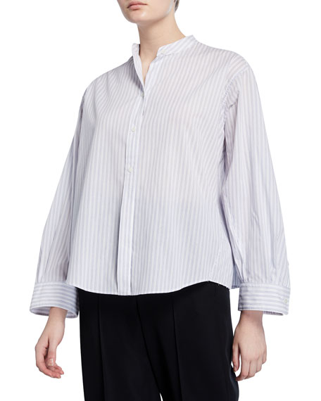 Image 1 of 3: Vince Pleated Button-Down Striped Shirt
