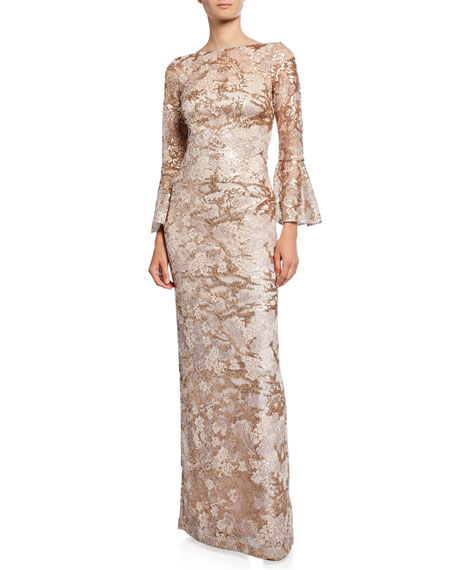 Rickie Freeman for Teri Jon Butterfly Embellished High-Neck Bell-Sleeve Lace & Tulle Gown