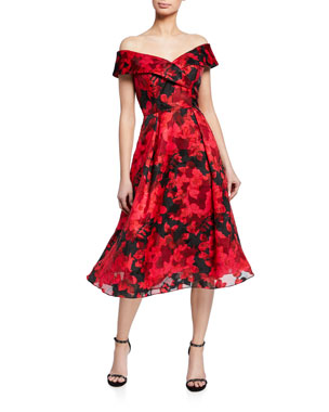 aeb96971b8f2 Rickie Freeman for Teri Jon Floral Burnout Organza Off-The-Shoulder Midi  Dress