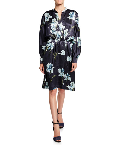 Vince Iris-Print Long-Sleeve Satin Dress