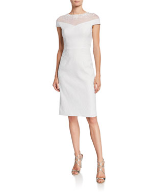 5d8c62cbb29 Rickie Freeman for Teri Jon Beaded Illusion Stretch Jacquard Cap-Sleeve  Sheath Dress