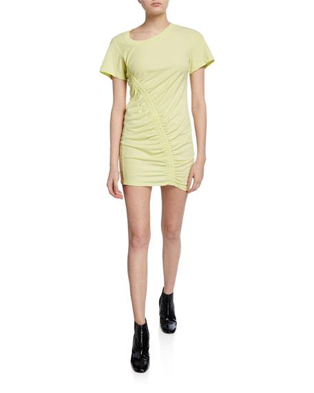 alexanderwang.t Short-Sleeve Asymmetric Ruched T-shirt Dress