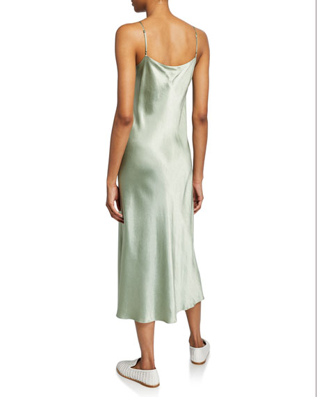 Image 2 of 2: Scoop-Neck Midi Satin Slip Dress