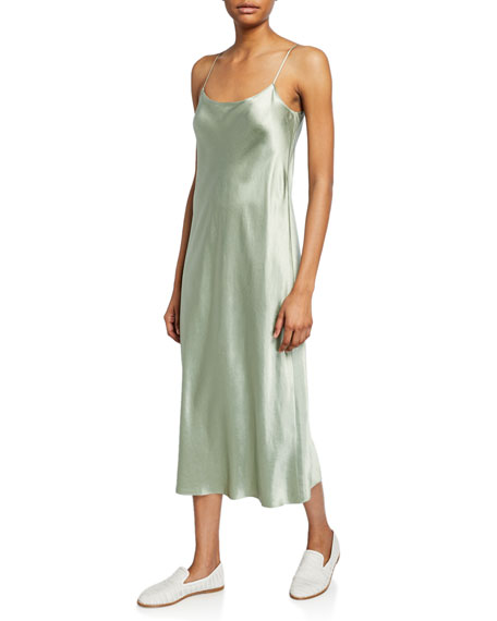 Image 1 of 2: Scoop-Neck Midi Satin Slip Dress