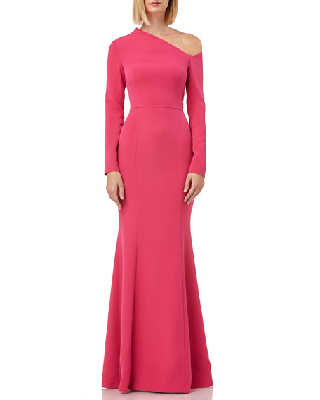 Kay Unger Tops ASYMMETRIC-NECK LONG-SLEEVE STRETCH-CREPE TRUMPET GOWN
