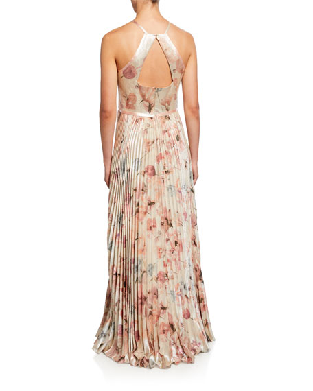 Image 2 of 2: Marchesa Notte Floral Lame Halter Gown with Pleated Skirt