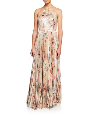 f4404f7f790 Marchesa Notte Floral Lame Halter Gown with Pleated Skirt