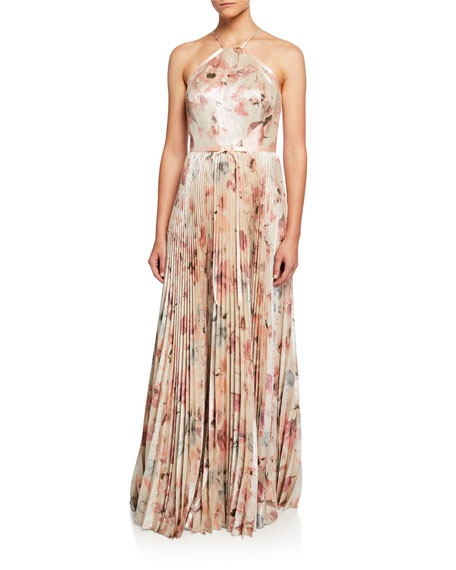 Image 1 of 2: Marchesa Notte Floral Lame Halter Gown with Pleated Skirt