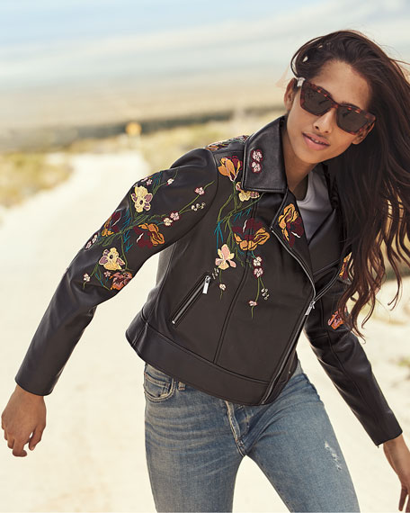 Image 2 of 4: Floral Embroidered Leather Moto Jacket