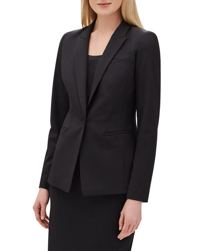 Harvey One-Button Italian Stretch-Wool Blazer
