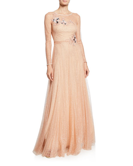 Marchesa Notte Long-Sleeve Glitter Tulle Gown with Beaded Floral Appliques & Bow