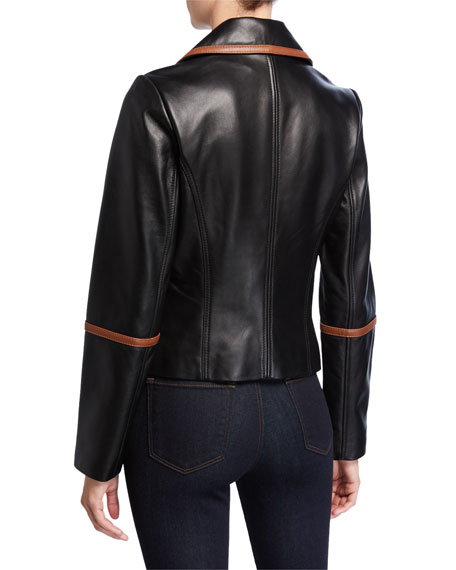 Neiman Marcus Leather Collection Contrast Binding Leather Moto Jacket