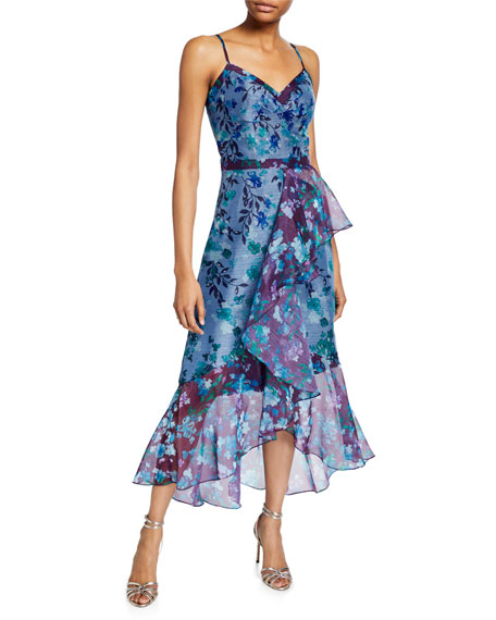 Marchesa Notte Colorblock Floral Organza Sleeveless High-Low Side-Ruffle Gown