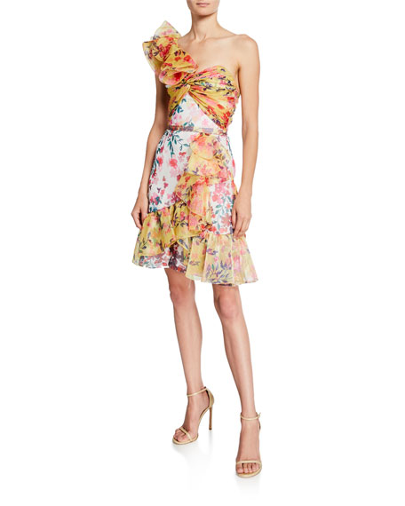Marchesa Notte Colorblock Floral-Print One-Shoulder Twisted Ruffle Dress