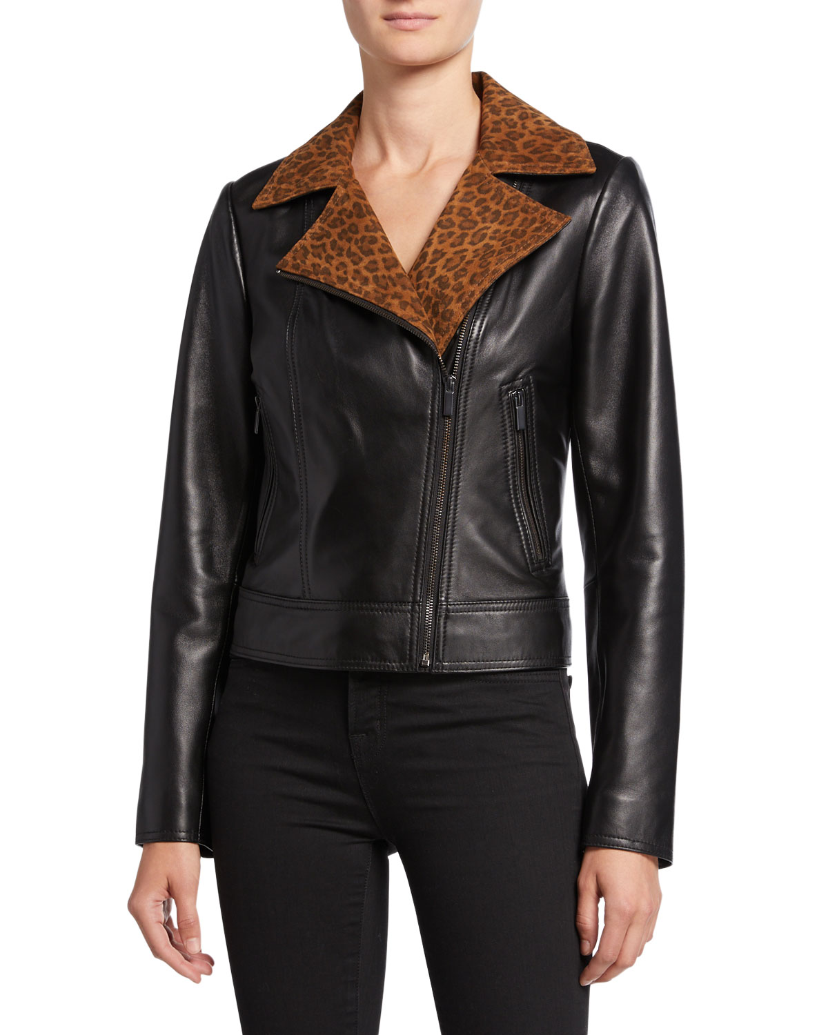 69f69e8d6d7d Neiman Marcus Leather Collection Lambskin Leather Moto Jacket with Leopard-Print  Collar