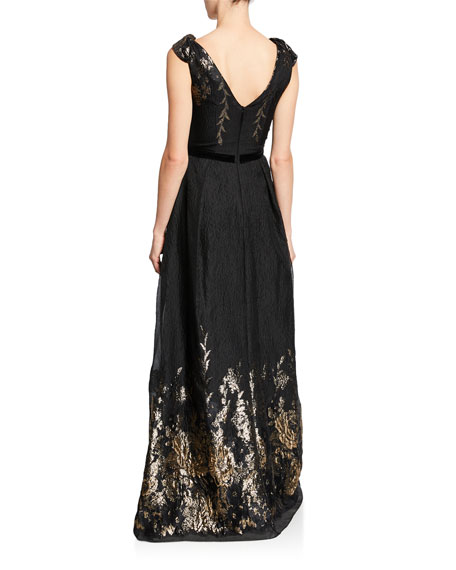 Image 2 of 2: Marchesa Notte V-Neck Sleeveless Metallic Fils Coupe Gown w/ Shoulder Detailing