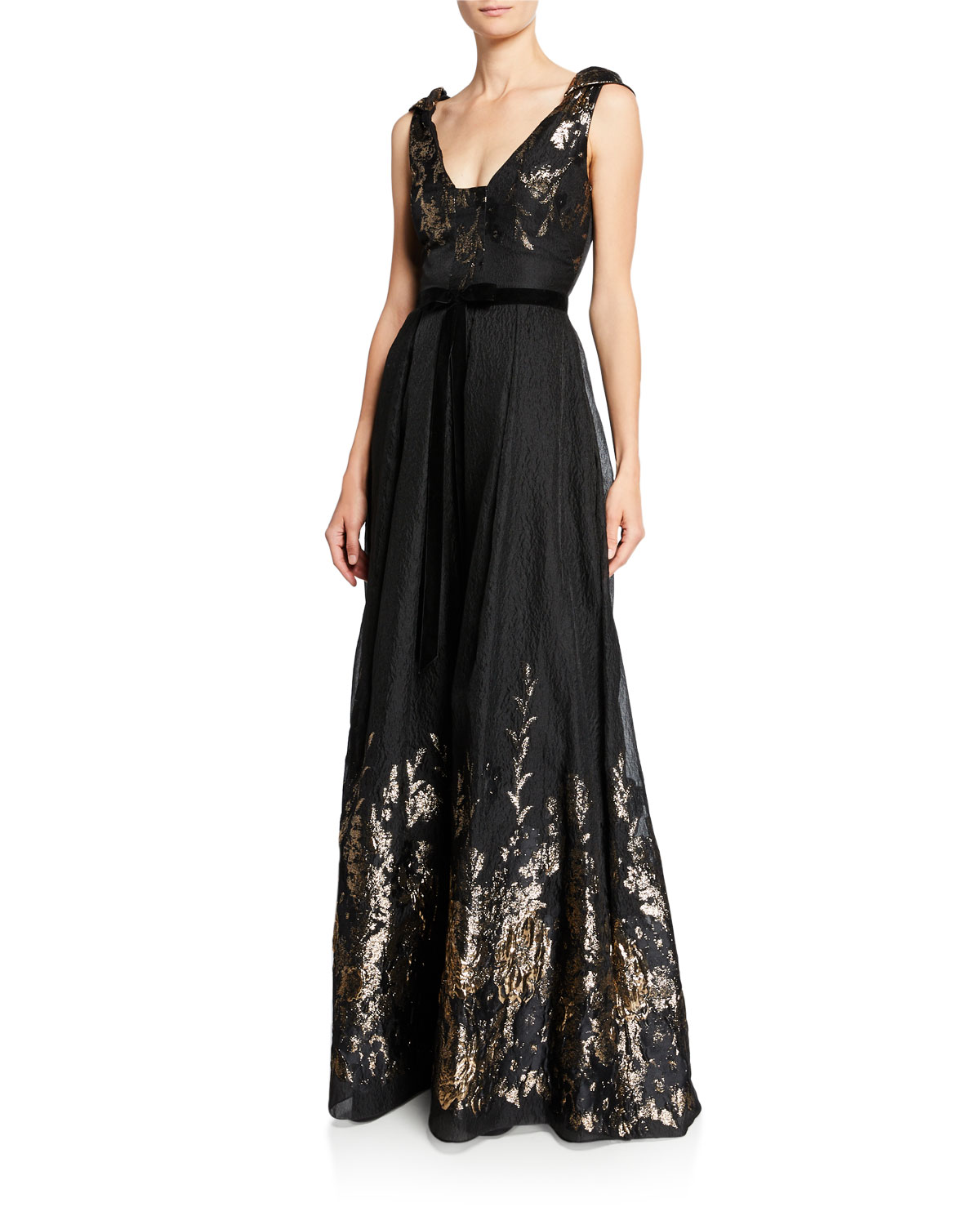 Marchesa Notte V-Neck Sleeveless Metallic Fils Coupe Gown w/ Shoulder Detailing