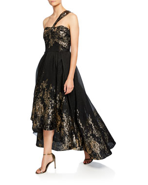 25a5eeae6a9 Marchesa Notte Draped One-Shoulder High-Low Metallic Fil Coupe Gown