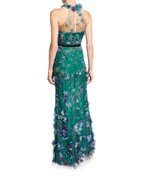 Marchesa Notte Printed Tulle Illusion Halter Gown with 3D Flower Degrade
