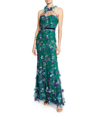 b513f78fdf8 Marchesa Notte Printed Tulle Illusion Halter Gown with 3D Flower Degrade