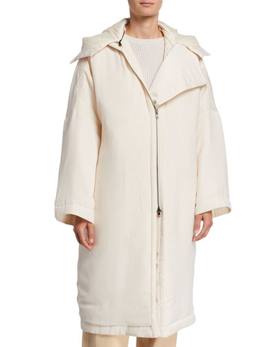 Soft-Quilted Hooded Coat