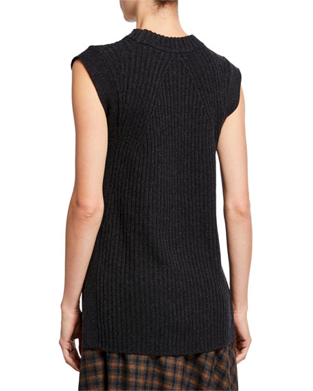 Image 2 of 2: Vince Wool/Cashmere Ribbed Sleeveless Tunic