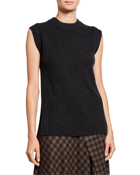 Image 1 of 2: Vince Wool/Cashmere Ribbed Sleeveless Tunic