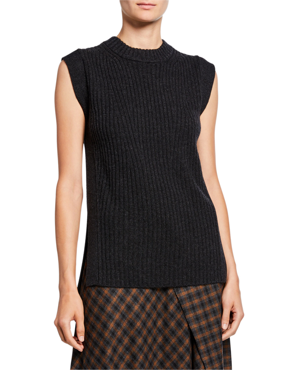 Vince Wool/Cashmere Ribbed Sleeveless Tunic