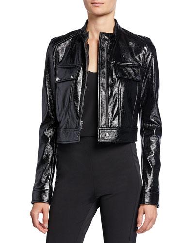 Cropped Patent Faux-Leather Biker Jacket